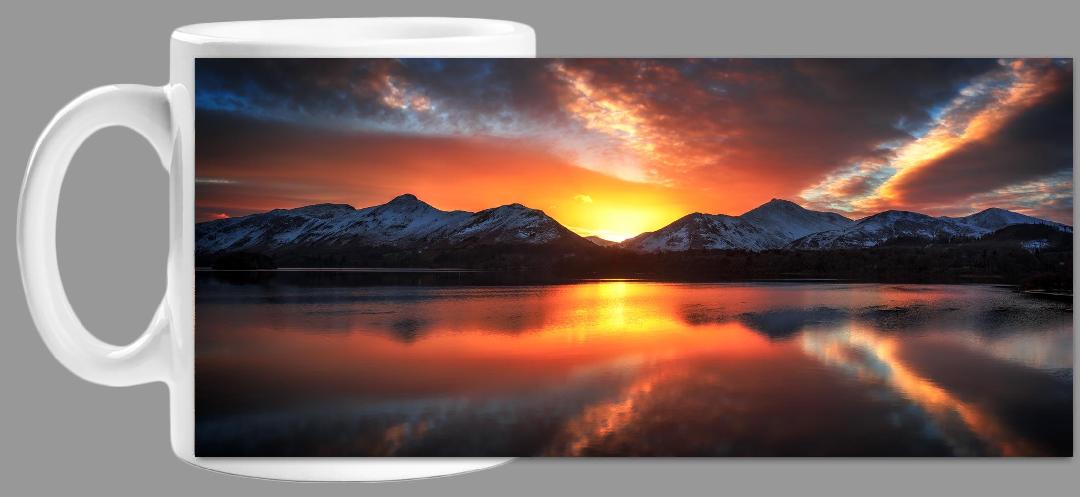 Winter Sunset Over Derwent Water - Mug