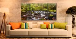 Start of Autumn River Rothay - 3 Panel Wide Centre Canvas on Wall