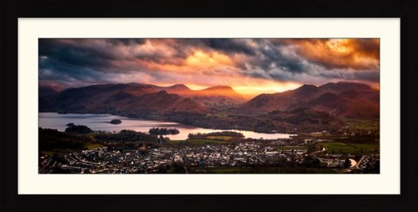 Sun Rays Over Cat Bells - Framed Print with Mount