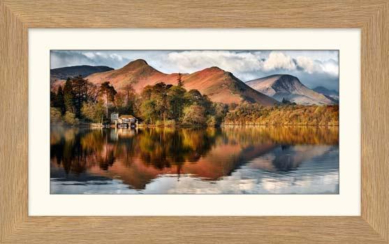 Derwent Boathouse and Cat Bells - Framed Print