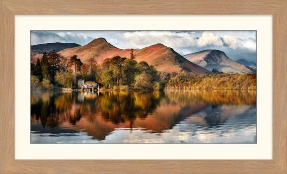 Derwent Boathouse and Cat Bells - Framed Print