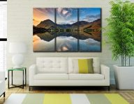 Breaking Dawn Buttermere - 3 Panel Canvas on Wall