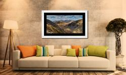 Grisedale Tarn Panorama - Framed Print with Mount on Wall