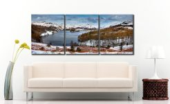 Grasmere Winter Panorama - 3 Panel Canvas on Wall