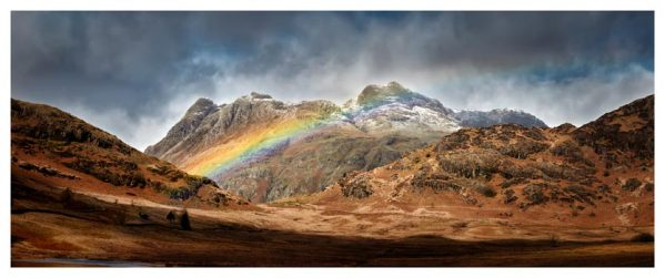 Langdale Pikes Rainbow - Lake District Print