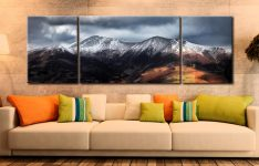 Snow Capped Skiddaw - 3 Panel Wide Mid Canvas on Wall
