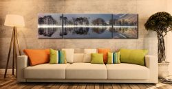 Buttermere Trees Silhouette - 3 Panel Wide Centre Canvas on Wall