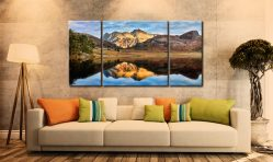 Blea Tarn and Langdale Pikes - 3 Panel Wide Centre Canvas on Wall