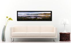 Bowness On Windermere Morning Mists - Black oak floater frame with acrylic glazing on Wall