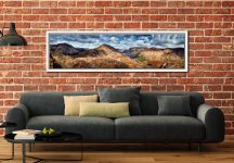 High Crag and Buttermere Panorama - White Maple floater frame with acrylic glazing on Wall
