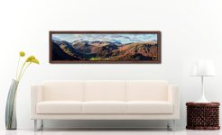 Borrowdale Mountains Panorama - Walnut floater frame with acrylic glazing on Wall