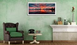 Red Skies Over Derwent Water - White Maple floater frame with acrylic glazing on Wall
