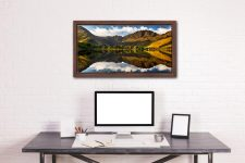 First Light on the Buttermere Pines - Walnut floater frame with acrylic glazing on Wall
