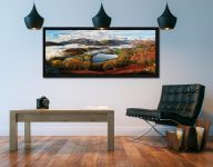 Loughrigg Tarn and Langdale Panorama - Black oak floater frame with acrylic glazing on Wall
