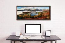 Loughrigg Tarn and Langdale Panorama - Walnut floater frame with acrylic glazing on Wall