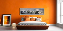 Crinkle Crags Winter Panorama - White Maple floater frame with acrylic glazing on Wall