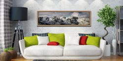 Crinkle Crags Winter Panorama - Oak floater frame with acrylic glazing on Wall