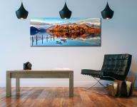 Derwent Water Panorama - UltraHD Print with Aluminium Backing and slim gold frame on Wall