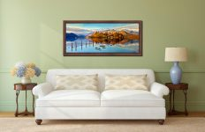 Derwent Water Panorama - Walnut floater frame with acrylic glazing on Wall