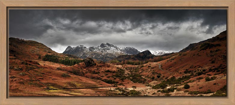 The Langdale Pikes Winter Panorama - Modern Print