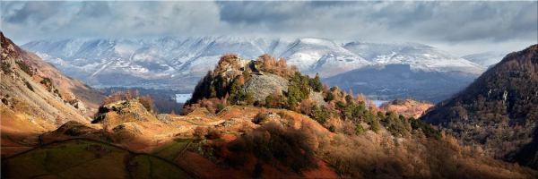 Castle Crag Winter Sunshine - Canvas Print