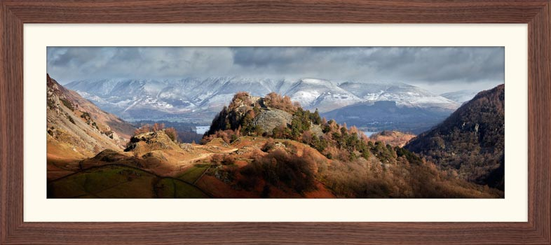 Castle Crag and Snowy Skiddaw - Framed Print with Mount