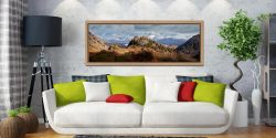 Castle Crag and Snowy Skiddaw - Oak floater frame with acrylic glazing on Wall