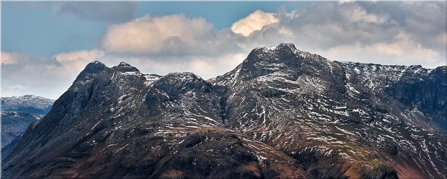 Late Snow on Langdale Pikes - Canvas Print