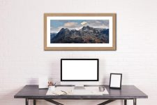 Late Snow on Langdale Pikes - Framed Print with Mount on Wall