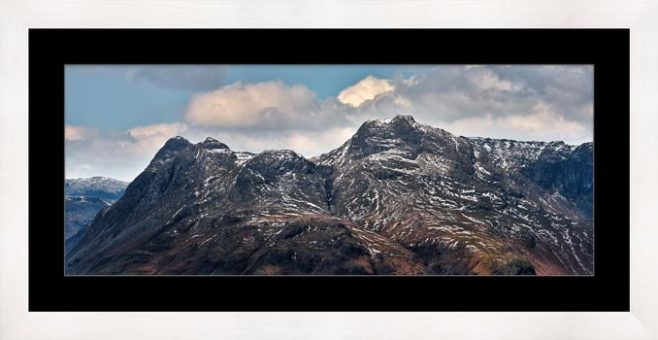 Late Snow on Langdale Pikes - Framed Print