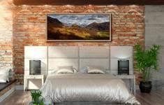 Castle Crag Winter Sunshine - Oak floater frame with acrylic glazing on Wall