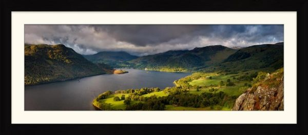 Ullswater Mountains Panorama - Framed Print with Mount