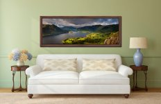Ullswater Mountains Panorama - Walnut floater frame with acrylic glazing on Wall
