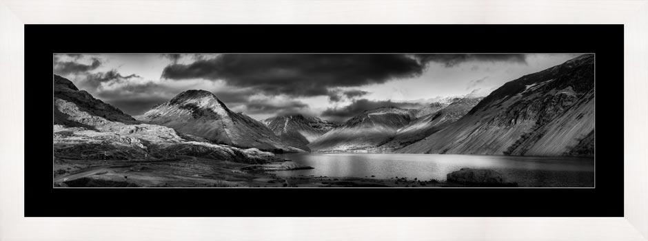 Winter Sun Over Wast Water - Black White Framed Print