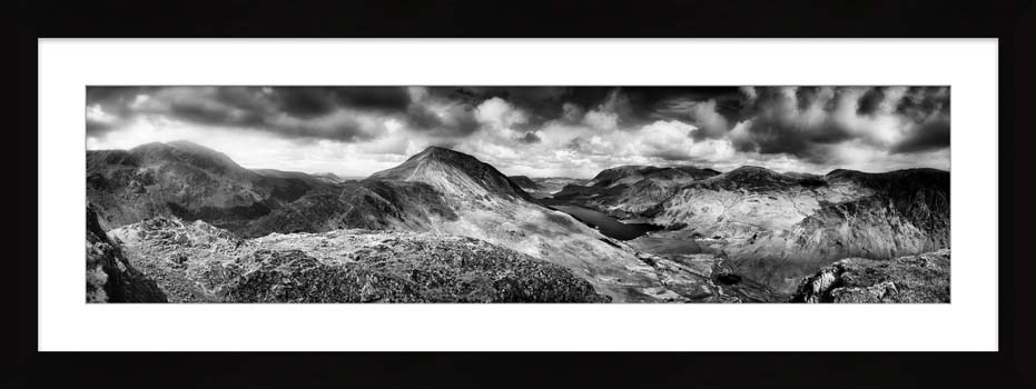 High Crag and Buttermere Panorama - Black White Framed Print