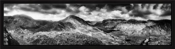 High Crag and Buttermere Panorama - Black White Modern Print