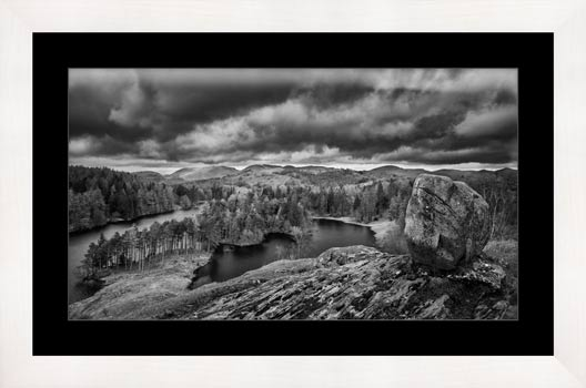 Grey Skies Over Tarn Hows - Black White Framed Print