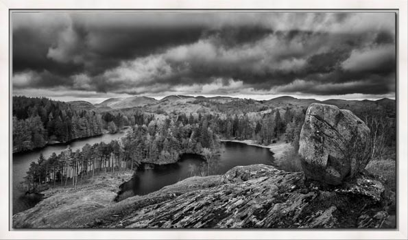 Grey Skies Over Tarn Hows - Lake District Modern Black White