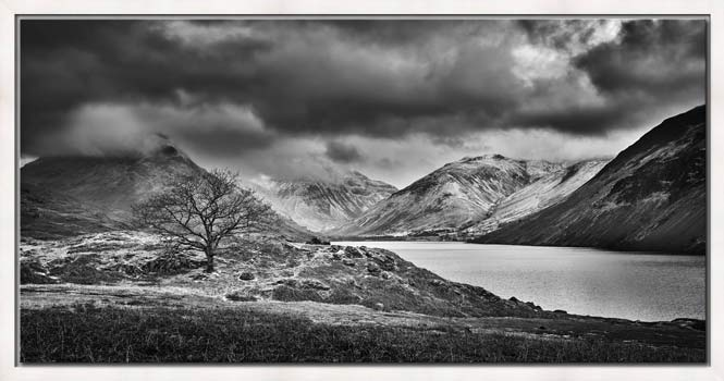 Winter Colours of Wast Water - Black White Modern Print