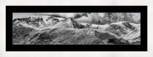 Helvellyn Mountains Range - Black White Framed Print with Mount
