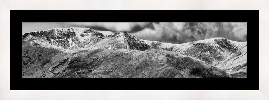 Helvellyn Mountains Range - Black White Framed Print