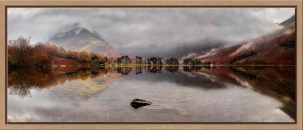 A moment of calm on a rainy day at Buttermere - Walnut floater frame with acrylic glazing