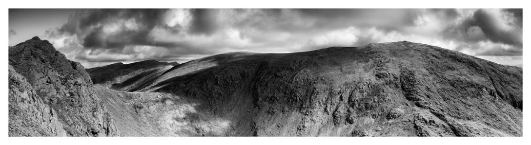 Dow Crag and Old Man Coniston - Black White Lake District Print