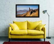 Old Man of Storr Panorama - Black oak floater frame with acrylic glazing on Wall