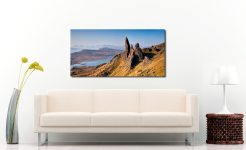 Old Man of Storr Panorama - Print Aluminium Backing With Acrylic Glazing on Wall