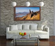 Old Man of Storr Panorama - Walnut floater frame with acrylic glazing on Wall
