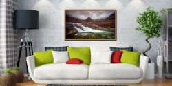 Fairy Pools Swirl - Oak floater frame with acrylic glazing on Wall