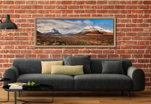 View of the snow capped Cuillin Mountains from Glen Sligachan on the Isle of Skye - Oak floater frame with acrylic glazing on Wall