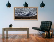 Black Cuillins Snow Fall - Oak floater frame with acrylic glazing on Wall