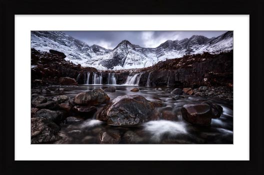 Fairy Pools Rocks Mountains Snow - Framed Print with Mount